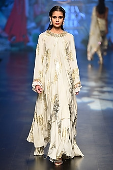 Off white bibi badal foil print asymmertical tunic with pleated skirt by Nikasha