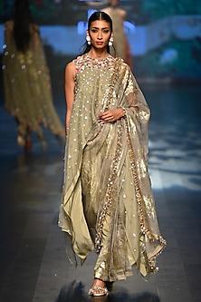 Grey asymmetrical top with bibi badal printed cowl dhoti saree by Nikasha