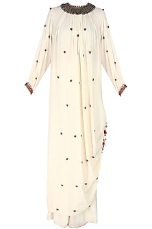 Ivory Kurlong Rouching Bead Embroidery Kurta with Gathered Sharara Pants by Nikasha