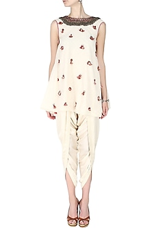 Ivory Back Open Printed Godet Embroidered Kurta with Ivory Overlap Dhoti Pants by Nikasha