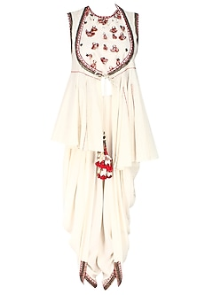 Ivory Horse Shoe Yoke Embroidered Jacket with Cowl Dhoti Pants