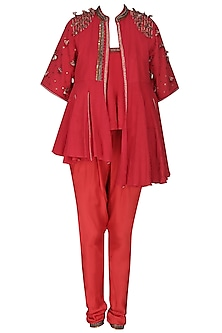Red Embroidered Jacket with Tube Top and Jodhpuri Pants by Nikasha