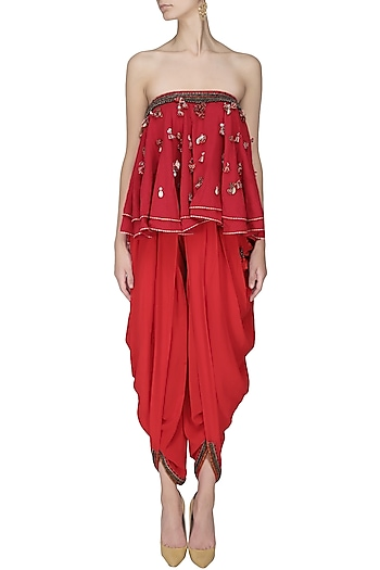 a30a9a8bd2 Kasum red embroidered tube kali top with cowl dhoti pants available only at  Pernia s Pop Up Shop.