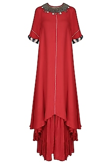 Red Asymmetric Embroidered Dress with Gathered Skirt