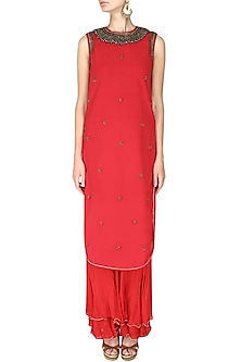 Red Embroidered Apple Cut Kurta with Double Layer Sharara by Nikasha