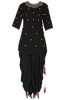 Black Peppercorn Embroidered Backless Kurta with Jodhpuri Pants by Nikasha