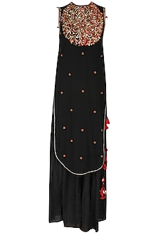 Black Embroidered Apple Cut Kurta with Black Gathered Sharara Pants Set by Nikasha