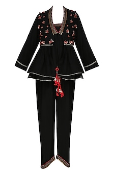 Black Jumpsuit with Black Embroidered Flared Jacket