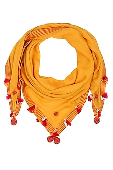 Mustard Yellow Fringes and Shell Hanging Scarf by Nikasha