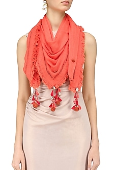 Coral Fringes and Shell Hanging Scarf by Nikasha