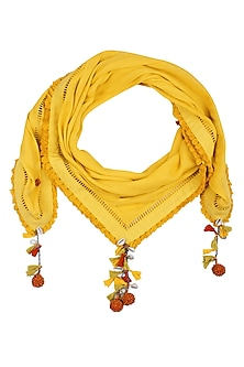 Yellow Fringes and Shell Hanging Scarf by Nikasha