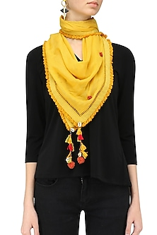 Yellow Fringes and Shell Hanging Scarf