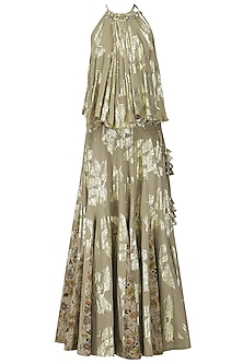 Grey Palm Leaf Foil Print and Hand Painted Lehenga with Flared Embroidered Top by Nikasha