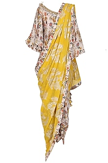 Ivory Floral Hand Painted Blouse and Dhoti Pants with Yellow Embroidered Dupatta