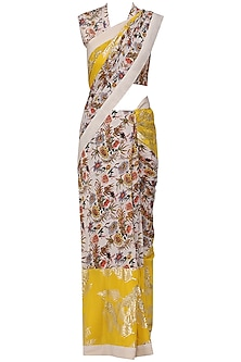 Ivory and Yellow Panelled Saree with Embroidered Blouse