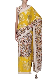 Ivory and Yellow Panelled Saree with Embroidered Blouse by Nikasha