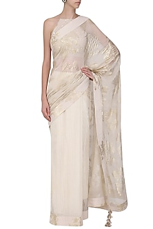 Ivory Foil Print Saree with Embroidered Blouse by Nikasha