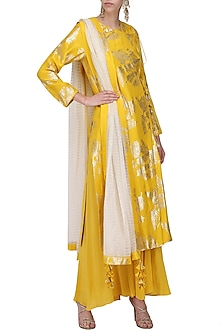 Yellow Foil Printed Angrakha Style Kurta with Sharara Pants Set by Nikasha