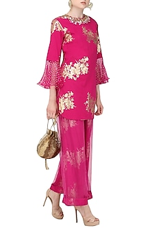 Jamun Pink Foil Printed Short Tunic with Palazzo Pants by Nikasha