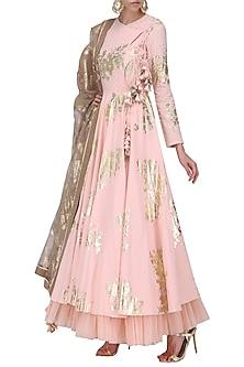 Salmon Pink Foil Printed Angrakha Style Anarkali with Churidar Pants Set by Nikasha