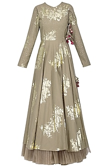 Grey Foil Printed Angrakha Style Anarkali with Churidar Pants Set by Nikasha