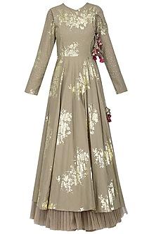 Grey Foil Printed Angrakha Style Anarkali with Churidar Pants Set by Nikasha