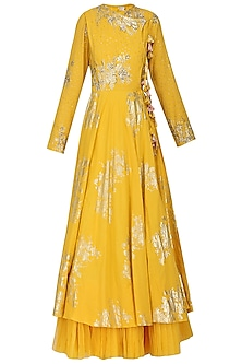 Yellow Foil Printed Angrakha Style Anarkali with Churidar Pants Set