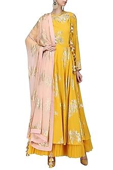 Yellow Foil Printed Angrakha Style Anarkali with Churidar Pants Set by Nikasha