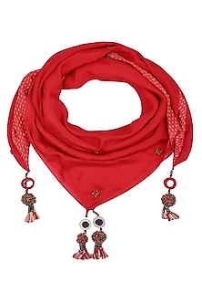 Red Kantha Stitch Print and Peppercorns Tassels Scarf by Nikasha