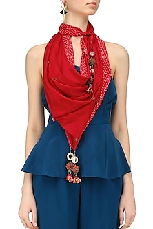 Red Kantha Stitch Print and Peppercorns Tassels Scarf
