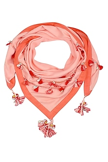 Light Coral Ladder Lace and Khadi Border Tassels Scarf by Nikasha