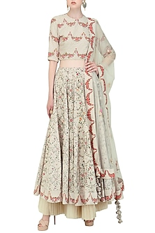 Ivory Hand Painted and Embroidered Lehenga Set by Nikasha