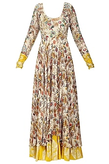 Ivory and Yellow Embroidered and Hand Painted Anarkali with Churidar Pants by Nikasha