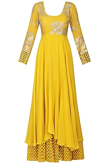 Yellow and Ivory Embroidered Anarkali with Churidar Pants Set