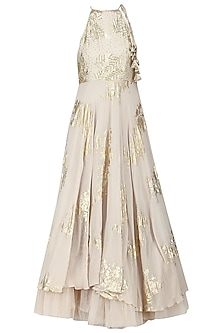 Ivory Embroidered and Foil Printed Anarkali with Churidar Pants by Nikasha