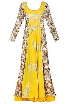 Ivory and Yellow Anarkali with Churidar Pants Set