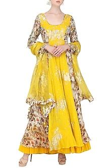 Ivory and Yellow Anarkali with Churidar Pants Set by Nikasha