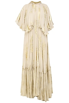 Ivory Foil Printed and Embroidered Maxi Dress by Nikasha