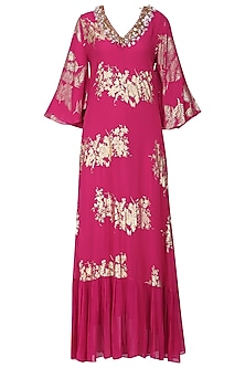 Jamun Pink Foil Printed and Embroidered Maxi Dress