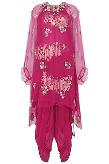 Jamun Pink Gold Foil Printed Tunic with Embroidered Overlayer and Cowl Dhoti Pants by Nikasha