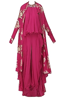 Jamun Pink Gold Foil Printed Jacket with Embroidered Halter Top and Cowl Dhoti Pants by Nikasha