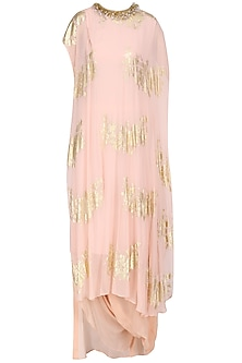 Salmon Pink Gold Foil Printed Kaftan Top with Cowl Maxi Skirt