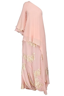 Salmon Pink Gold Foil Printed Side Godet Top with Cowl Maxi Skirt