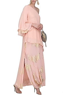 Salmon Pink Gold Foil Printed Side Godet Top with Cowl Maxi Skirt by Nikasha