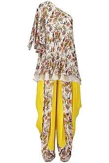 Ivory One Shoulder Hand Painted Short Tunic with Panelled Dhoti Pants by Nikasha