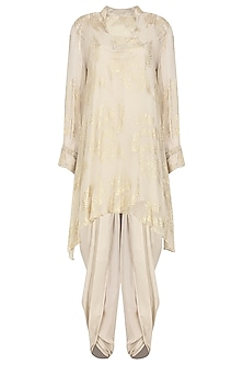 Ivory Gold Foil Printed Short Tunic with Dhoti Pants by Nikasha