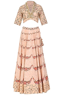 Salmon Pink Hand Painted and Embroidered Lehenga Set