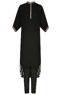 Black Embroidered High Low Printed Kurta Set by Nikasha