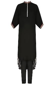 Black Embroidered High Low Printed Kurta Set by Nikasha
