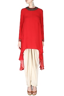 Red Embroidered Asymmetric Kurta with Cream Dhoti Pants by Nikasha